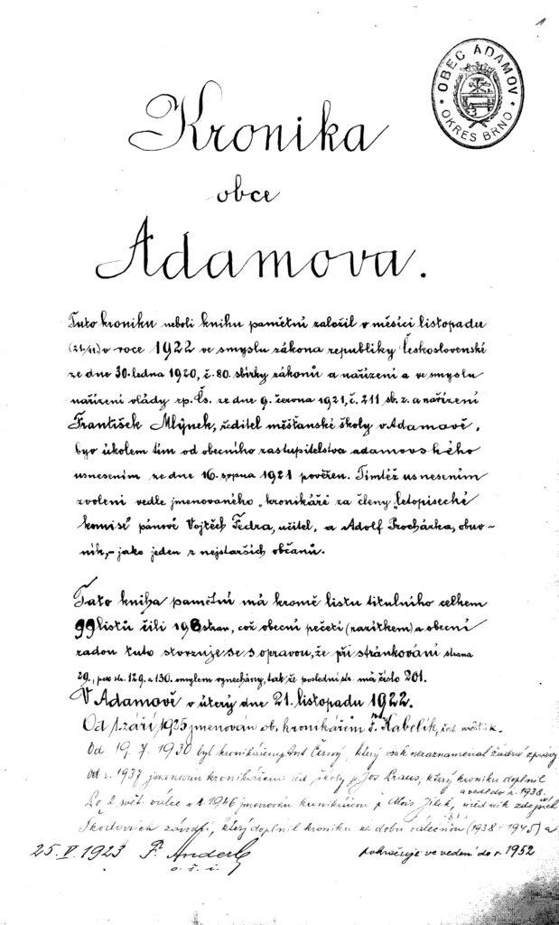 Pamětní kniha obce Adamova